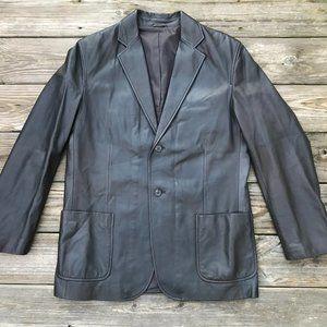 Massimo Dutti Men Leather Jacket Blazer Two Button